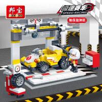 【小颗粒】邦宝益智积木儿童拼装玩具回力车赛车系列胎压检测区8633
