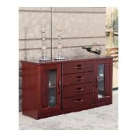 现代中式餐边柜碗柜酒柜收纳柜实木茶水柜橱柜储物柜厨房柜水曲柳 琥珀红 双门