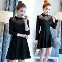 小香风加绒蕾丝连衣裙女长袖韩版时尚百搭修身显瘦内搭打底裙