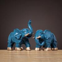 大象摆件一对创意小家居客厅酒柜装饰品乔迁新居店铺开业礼品 几何大象蓝色