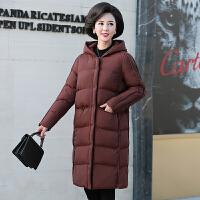 中老年棉服 女士连帽中长款棉服外套2019年秋季新款韩版时尚潮流女式修身洋气女装妈妈装
