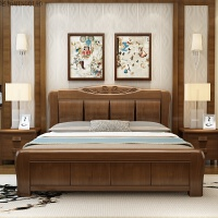 加厚实木床中式1.8米主卧双人1.5简约现代高箱储物婚床经济型家具