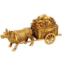 铜牛摆件金钱牛家居风水装饰招财牛工艺品牛拉车客厅摆设