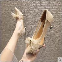 韩版时尚百搭小清新网纱凉鞋女单鞋女尖头细跟浅口高跟鞋