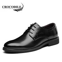 鳄鱼恤皮鞋舒适商务正装鞋百搭婚鞋尖头鞋系带男鞋