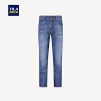HLA/海澜之家宽松直筒牛仔裤2019春季新品经典牛仔长裤男
