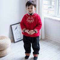 男童装套装汉服两件套中国风加厚过年装宝宝唐装拜年服 红色金锁 套装