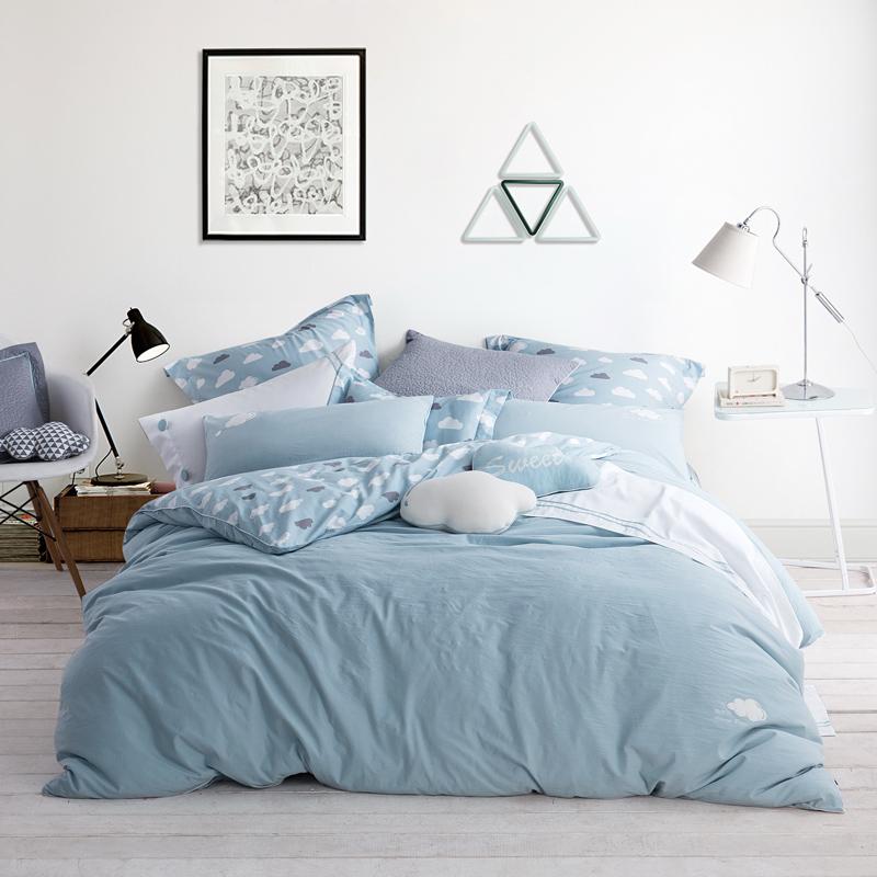 LOVO家纺 全棉水洗棉印花四件套 裸睡抗褶皱床单被套 清新可爱时尚皇冠特丽斯