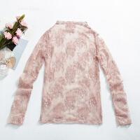 黑色泰货蕾丝网纱打底衫女低领大码2018新款内搭白色性感百搭长袖 粉色 S