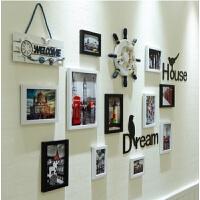 骁熊 简约现代相框照片墙装饰创意个性客厅悬挂无痕钉挂墙组合 相片墙