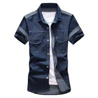 夏季牛仔短袖衬衫男装韩版修身外套男士半袖衬衣薄款潮
