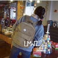 新款韩国森系简约文艺复古学院色灯芯绒背包休闲百搭学生双肩包书包