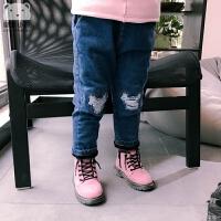 女童装秋装长裤子2女宝宝3女婴儿1-7岁5磨破潮款加绒加厚牛仔裤