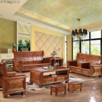 新客厅现代中式客厅实木沙发组合家具橡木仿古原木香樟木沙发贵妃 组合