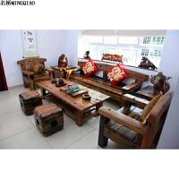 老船木沙发实木家具中式仿古原生态沙发组合 客厅办公室三人沙发 组合