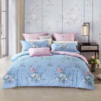 LOVO家纺 全棉纯棉四件套 新中式田园被套床单 1.5/1.8米床 牡丹亭园