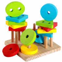 木制四套柱婴儿童玩具几何形状配对宝宝益智力积木早教1-2-3周岁