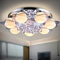 led房间时尚水晶欧式大气客厅灯温馨卧室餐厅灯具创意圆形吸顶灯