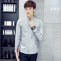 新款男士牛津纺长袖衬衫韩版修身百搭衬衣潮