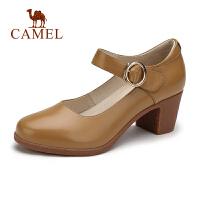 骆驼女鞋2019春夏新品复古粗跟玛丽珍鞋中跟圆头扣带优雅浅口单鞋