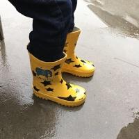 春季天然橡�z�和�雨靴中大童�W生四季防滑水鞋男童女童����雨鞋