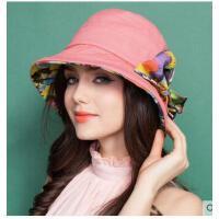 新款女士夏天可折 遮阳帽子卷边叠盆 帽防紫外线太阳 帽小沿防晒凉帽