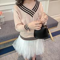 女童针织衫春装2018新款韩版儿童宝宝毛衣长袖打底衫V领百搭上衣