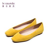 【顺丰包邮,大牌价:399】莱尔斯丹 春新款浅口方头女鞋平底百搭奶奶鞋单鞋06903