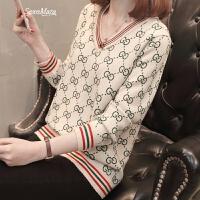 女装春装2018新款早春V领毛衣女士针织打底衫韩版短款百搭外穿潮 米白色 S