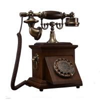 老式电话机 老式民国实木旋转盘电话机仿古复古拨号电话中式古董家用座机 复古转盘咖色布绳