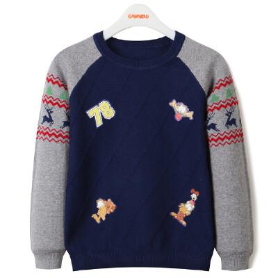 【领卷:79元选3】加菲猫童装男童圆领套头针织衫GGM17409