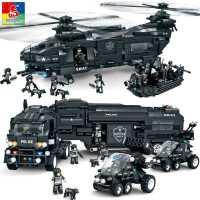 沃马积木兼容乐高玩具儿童大型拼装军事汽车飞机男孩益智拼插10岁