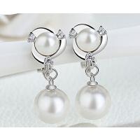 珍珠 耳环 女 气质 925银 日韩国简约个性耳钉 耳夹无耳洞 耳饰品防过敏