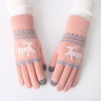 毛线手套女冬季时尚韩版可爱加绒加厚保暖针织手套学生骑车手套秋冬天