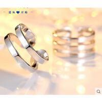 戒指 首饰 配饰 开口戒指日韩925银创意情侣对戒个性活口男女戒指环刻字