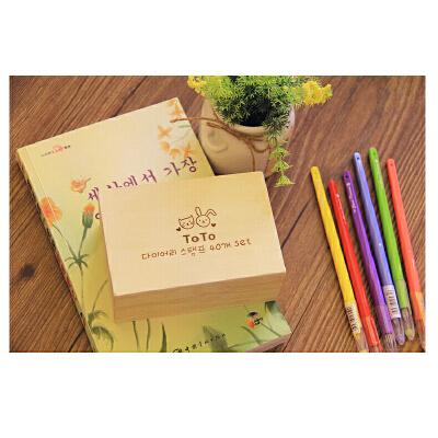 韩国文具 木卡通toto可爱兔兔木盒装印章 木质日记小印章40枚入