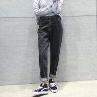 牛仔裤 女春季新款高腰宽松牛仔裤女学生直筒黑色长裤韩版bf风卷边百搭哈伦裤子.