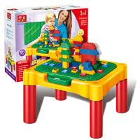 邦宝多功能积木桌大颗粒拼插启蒙玩具1-6周岁儿童益智积木学习桌带小凳子9038-1