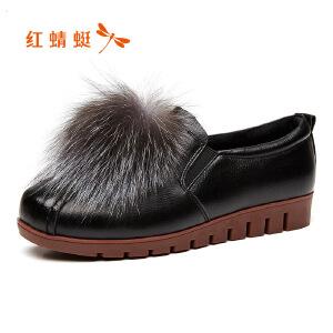 红蜻蜓女鞋 2017新款秋季毛绒平底防滑女单鞋浅口圆头鞋子