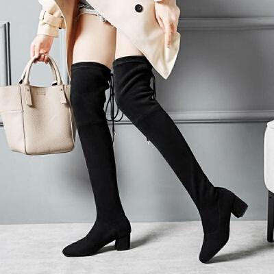 过膝靴女靴长靴子冬季2018新款羊筋绒长筒靴粗跟高跟弹力高筒靴潮   【新款上新,支持七天退换货,欢迎购买】
