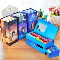 儿童卡通四层密码锁文具盒可爱简约收纳盒学生多功能铅笔盒男女