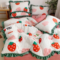 冬季床上用品珊瑚绒四件套水晶双面短绒牛奶法兰绒床单被套三件套
