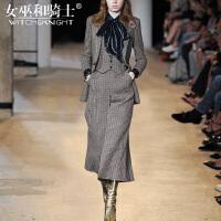 女巫2017秋冬新款欧美时尚气质外套阔腿裤时髦洋气套装女四件套潮