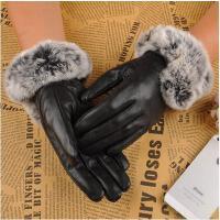 羊皮 女士真皮手套 保暖手套 女士獭兔韩版触屏加厚保暖女式兔毛分指