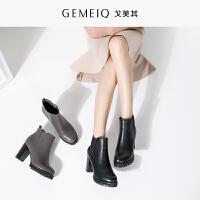 戈美其冬季新品棉鞋加绒短靴高跟粗跟女裸靴时装靴马丁靴