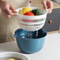 光一双层塑料沥水篮洗水果厨房洗菜盆篮子圆形小客厅家用创意现代