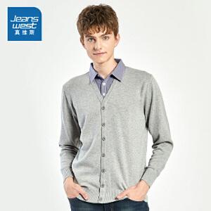 [每满400减150]真维斯男装 2018冬装新款 纯棉假两件衬衫领长袖针织衫