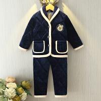 冬季儿童睡衣三层加厚水晶绒夹棉套装贝贝绒男女童小孩宝宝1一3岁