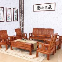 包邮简迪红木家具非洲黄花梨木万字沙发组合中式实木客厅沙发会客坐椅