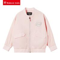 【20新品商场同款价:297元】探路者童装 20春夏户外女童棒球夹克外套QAEI84109